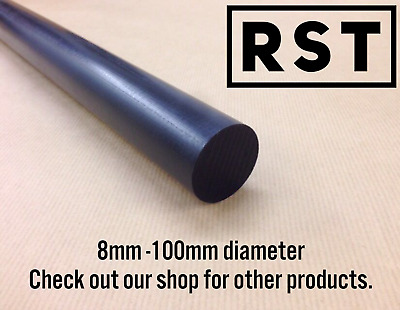 Acetal Pom Delrin Black Rod Round Bar 8-100mm Diameter Engineering Plastic • 21.15£