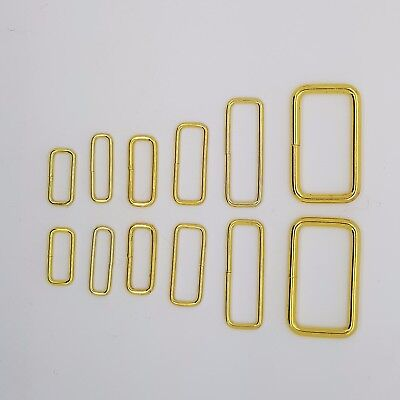 Gold Metal Rectangle Loop Rings Wire Formed Buckles For Webbing Strap Tape • 9.88£
