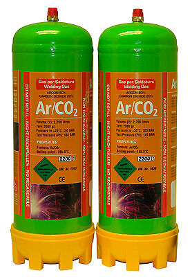 Argon/Co2 2x 220ltr Gas Bottle For MIG Welding Disposable Cylinder  • 55.92£