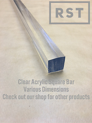 Clear Acrylic Square Bar, Perspex Bar. PMMA Rod. Various Sizes • 68.97£
