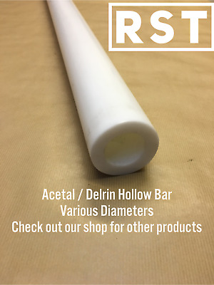 White / Natural,  Acetal / Delrin Hollow Bar. Plastic Tube.  Engineering Plastic • 18.82£