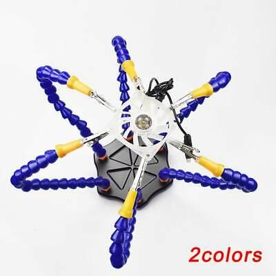 Soldering Helping Hands With 6pcs Flexible Arms Circuit Board Welding Z3X8 New • 15.69£