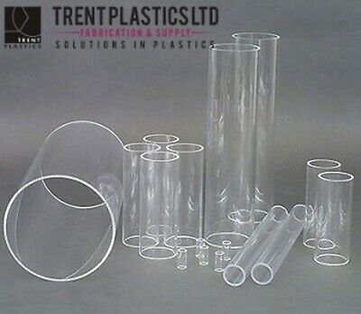 Clear Acrylic Round Tube Perspex Hollow Plastic Pipe Candle Gloss Transparent • 21.76£