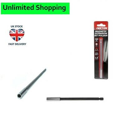 150mm Magnetic Extension Bit Holder Long Reach Crv 1/4  Hex Shank Extending Bar • 1.69£