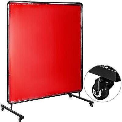 Welding Curtain Welding Screen With Frame 6' X 6' Flame-resistant Vinyl 4 Wheels • 66.59£