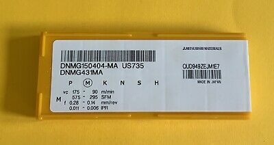 Turning Inserts Dnmg150404-ma  Us735 Mitsubishu New 10pcs • 25£