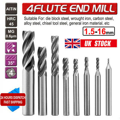 6-20Pc 1-16mm Solid Carbide End Mill 4 Flute TiAlN Milling Cutter Slot Drill Bit • 11.59£