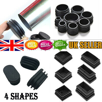 Square/Round/Oval Plastic Black Blanking End Caps Tube Pipe Inserts Plug Bung UK • 11.89£