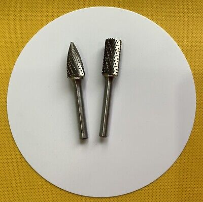 TWO SOLID CARBIDE ROTARY BURRS 6mm SHANK. • 8£