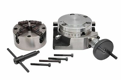 ROTARY TABLE 4 /100mm WITH 100mm 4 JAW INDEPENDENT CHUCK & BACKPLATE • 133.94£