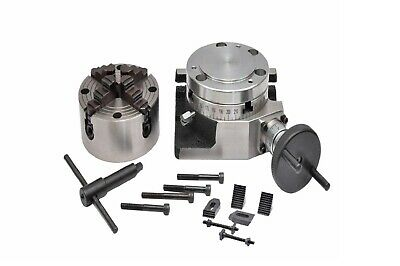 ROTARY TABLE 4 /100mm WITH 100mm 4 JAW INDEPENDENT CHUCK & M6 CLAMPING KIT • 144.39£