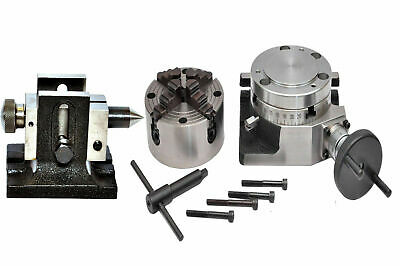 ROTARY TABLE 4 /100mm WITH 100mm INDEPENDENT CHUCK & SINGLE BOLT TAILSTOCK • 172.89£