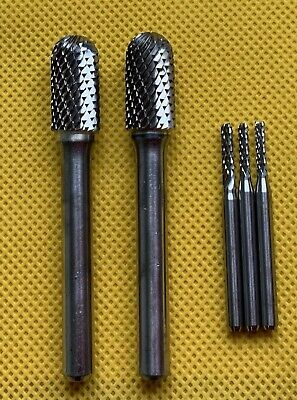 SOLID CARBIDE ROTARY BURRS-6mm SHANK-2 Off+3 Smaller Type. • 10£