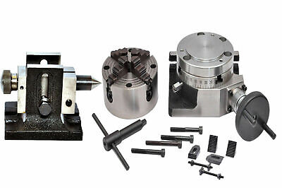 ROTARY TABLE 4 /100mm WITH 100mm INDEPENDENT CHUCK, TAILSTOCK & M6 CLAMPING KIT • 189.99£