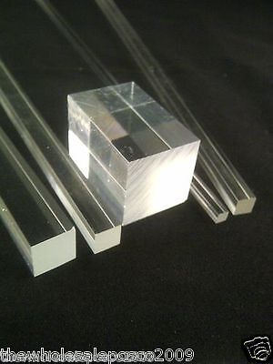 Square Clear Acrylic Rod Solid Perspex Bar Plexiglass Profile Food Safe Pmma • 18.76£