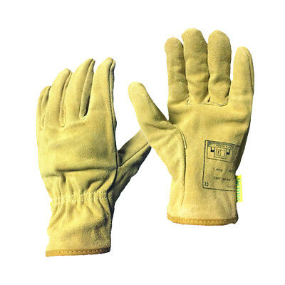 1 Pair Long Welding Protective Gloves Hands Cover Flame Resistant Yellow • 7.60£