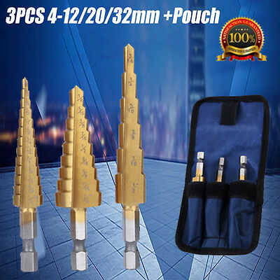 3pcs Large Hss Step Cone Drill Titanium Bit Set Hole Cutter Storage With Pouch • 8.99£