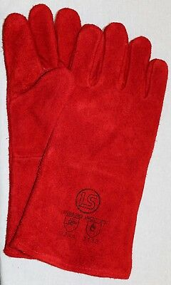 Langley Branded Pair Of Red Woodburner - Welders Gauntlets - BBQ Gloves  • 3.95£