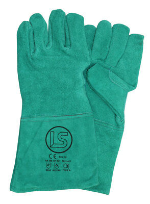 Langley Branded Green Woodburner - Welders Gauntlet - BBQ Glove • 3.95£