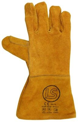 Langley Pair Of Branded Gold Woodburner - Welders Gauntlet - BBQ Gloves • 4.10£