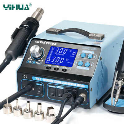 YIHUA 992DA+ Soldering Station Repair Board Hot Air Gun Soldering Iron 110V 220V • 188.99£