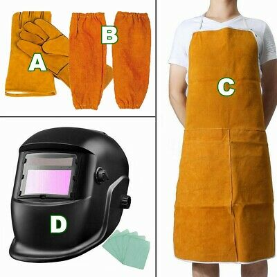 Blacksmith Protection Clothes Welder Welding Leather Gloves Gauntlets Long Apron • 14.99£