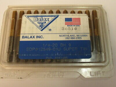 Lot Of 12 - New - 1/4-20  Bh9 - Tin Coated Roll Form Tap - Balax Brand  Usa • 89.88£