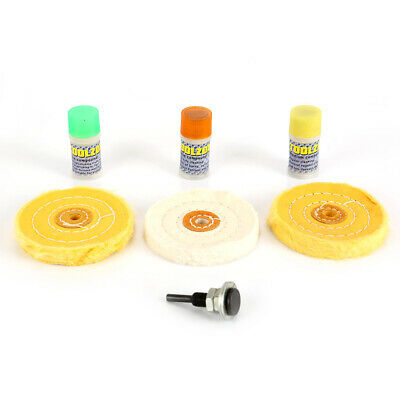 7pc Metal Cleaning Polishing Buffing Wheel Compound Kit For Drill Jewelers Rouge • 14.61£