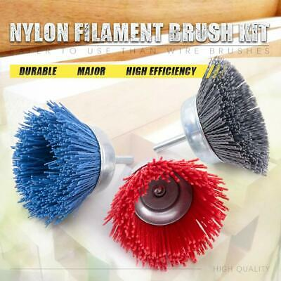 3Pc 3  Nylon Wire Cup Brush Buffing Wheel Set With 6mm Shank For Metal Polishing • 12.78£