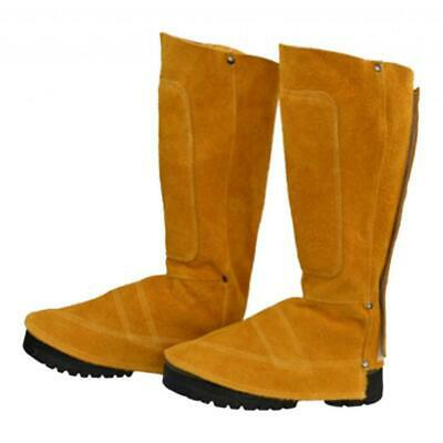 Welding Shoe Cover Suede Leather Welder Feet Protector 44cm Height Yellow • 23.28£
