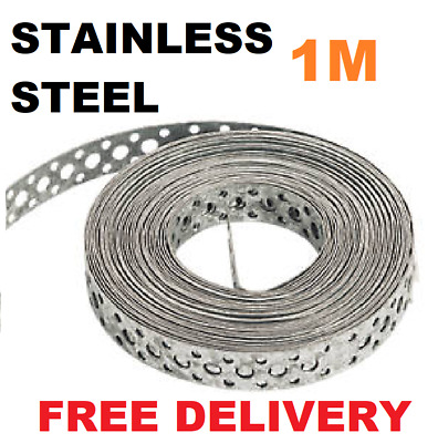 Engineers STAINLESS STEEL Metal Punched Perforated Strip Strap Roll 1M Metre  • 7.95£