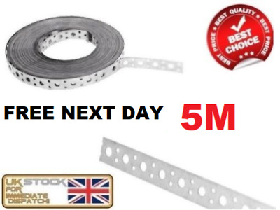 FIXING BAND STEEL METAL PUNCHED PERFORATED STRIP STRAP 5m X 25 X 1mm • 16.66£