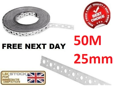 Engineers Fixing Band Steel Metal Punched Perforated Strip Strap 50M X 25x1.00mm • 50.95£