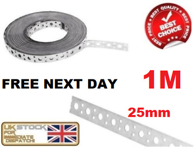 FIXING BAND STEEL METAL PUNCHED PERFORATED STRIP STRAP 25mm X 1mm - 1 Metre • 9.75£