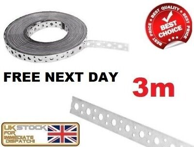FIXING BAND STEEL METAL PUNCHED PERFORATED STRIP STRAP 3M X 25 X 1mm • 13.95£
