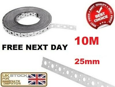 Engineers Fixing Band Steel Metal Punched Perforated Strip Strap 10m X 25 X 1mm • 19.95£