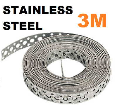 Engineers STAINLESS STEEL Metal Punched Perforated Strip Strap 3M Metre  • 19.95£