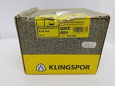 KLINGSPOR 50X QUICK CHANGE ABRASIVE DISCS For Metals & Paint QMC 400, 50MM • 19.90£