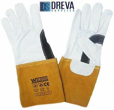 Gold TIG Welding Leather Gauntlets With Kevlar Stitching Premium Reinforced • 54.60£