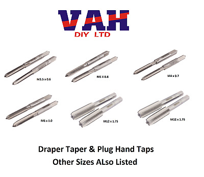 Draper  Hand Tap Set - Taper And Plug Taps - 3.5mm To 12mm • 15.99£