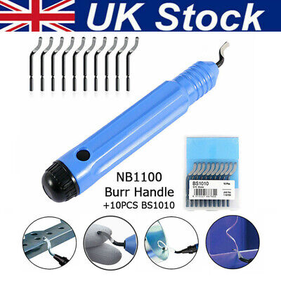 NB1100 Hole Deburring Tool Handle Blue +10 Blades BS1010 S10 Hand Deburring Tool • 7.99£