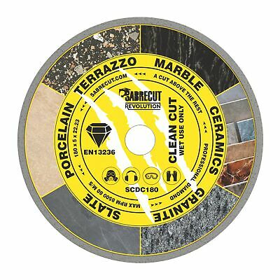 SabreCut 180mm Continuous Rim Disc Diamond Blade For Grinders And Tile Cutters • 12.99£
