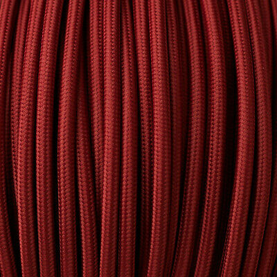 2Core Round Wire Vintage Braided Fabric Burgundy Cable Flex 0.75mm Electric Cord • 3.29£