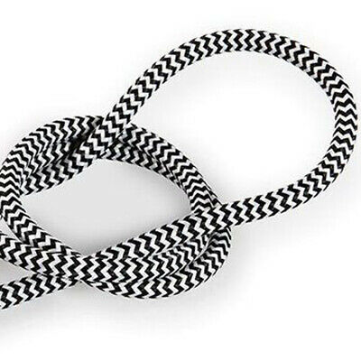 2 Core Round Vintage Braided Fabric Black And White Cable Flex 0.75mm • 3.29£