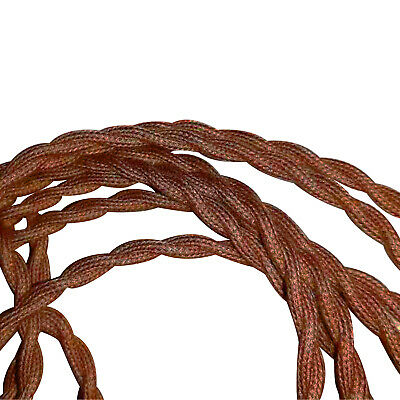 Twisted Brown Vintage Electric Fabric Cable Flex 0.75mm -2 Core • 3.29£