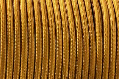3 Core Round Vintage Braided Fabric Gold Coloured Cable Flex 0.75mm • 3.49£