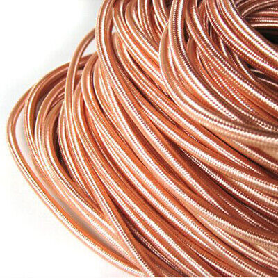 2 Core Round Vintage Braided Fabric Rose Gold Coloured Cable Flex • 3.29£