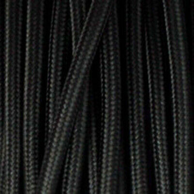 3 Core Round Vintage Braided Fabric Cable Flex 0.75mm  Black • 3.49£