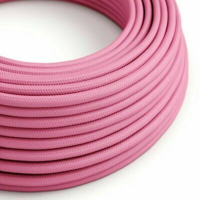 3 Core Round Rayon Vintage Braided Fabric Pink Cable Flex 0.75mm • 3.49£