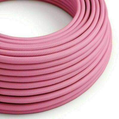 2 Core Round Rayon Vintage Braided Fabric Pink Cable Flex 0.75mm • 3.19£